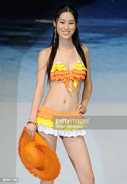 Chinese model Zhao Siyu displays a bikini during the 2008 swimwear show of textile maker Asahi Kasei in Tokyo on April 2008 AFP PHOTO/Toru YAMANAKA