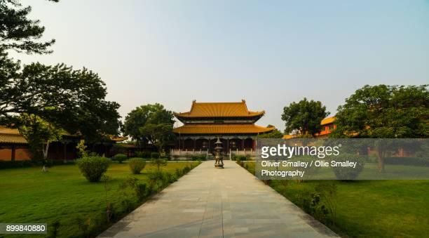 chinese monastery - lumbini, nepal - lumbini nepal stock pictures, royalty-free photos & images