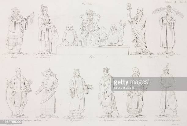 monk nun idols mandarins militarymen emperor empress literary mandarin bearer of the empire engraving by Viviani from a drawing by Busato from Il...