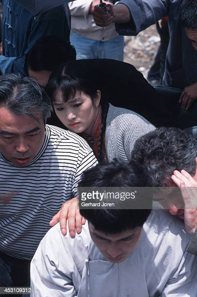 Chinese movie actress Gong Li and Hong Kong actor Leslie Cheung Kwok Wing with director Chen Kaige and cinema photographer Chris Doyle during the...