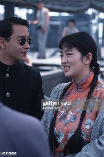 Chinese movie actress Gong Li with Hong Kong actor Leslie Cheung Kwok Wing during the filming of 'Temptress Moon'