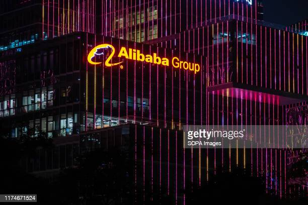 Chinese multinational e-commerce, retail, Internet, and technology conglomerate holding company Alibaba Group logo seen on top of a skyscraper at...