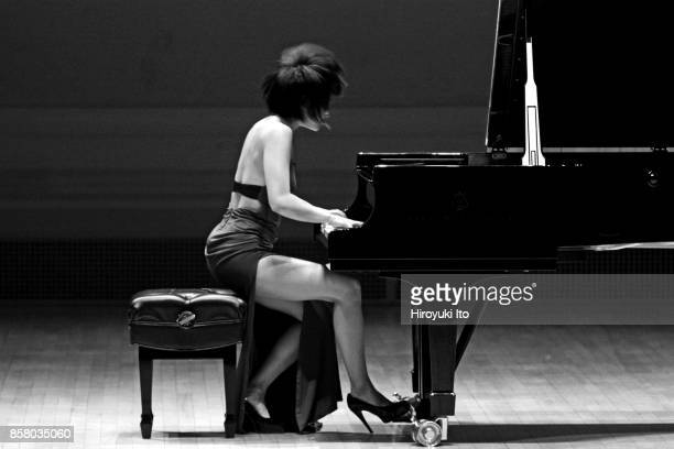 Chinese musician Yuja Wang plays pianist performs at Carnegie Hall New York New York December 11 2014 She performs music by Schubert Liszt Scriabin...