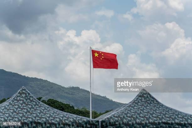 Chinese national flag stands at the Shek Kong Barracks on June 30 2018 in Hong Kong Hong Kong Hong Kong will mark 21 years since its return to...