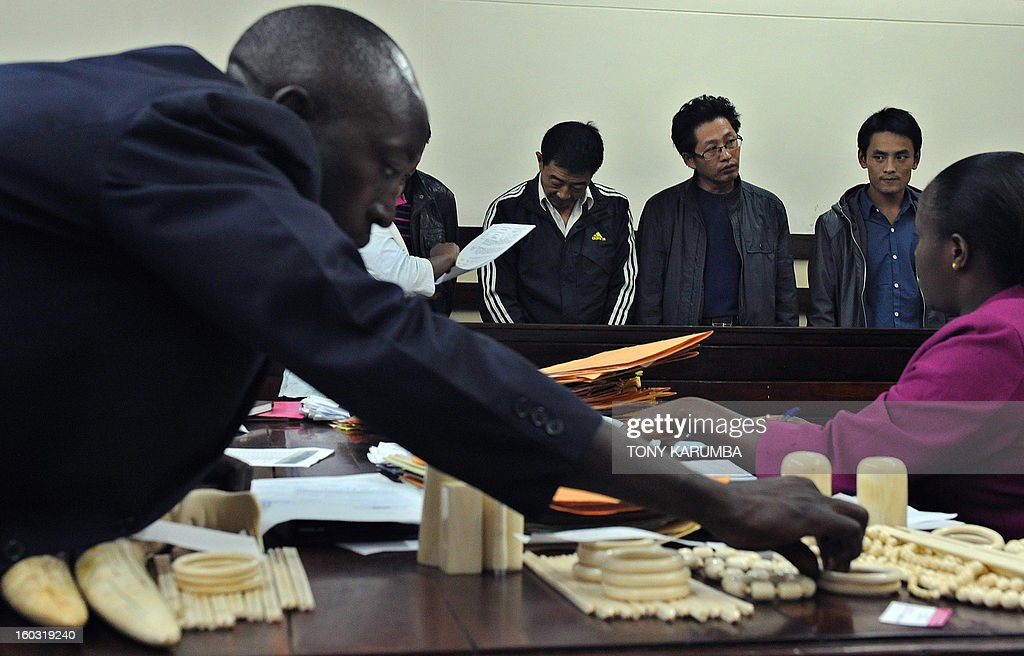 Chinese nationals, [from left] Liu Xuefeng, Gu Guisheng and Wang Chengbang appear in a courton January 29, 2013 in, Nairobi to answer to charges of smuggling illegal ivory. The four Chinese men who pleaded guilty to smuggling thousands of dollars worth of ivory were handed fines of just $340 each. The four men were arrested on Sunday carrying ivory products including 40 chopsticks, six necklaces, bracelets and a pen holder, as well as two pieces of raw ivory weighing 9.6 kilogrammes; the raw ivory alone carrying an estimated black market value of value $24,000 in Asia. AFP PHOTO/Tony KARUMBA