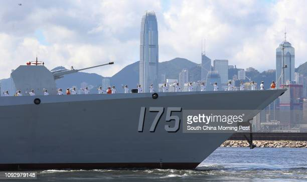 Chinese Navy destroyer class Yinchuan prepares for departure from Stonecutter's Island on Tuesday morning July 11, 2017. 11JUL17 SCMP / Dickson Lee