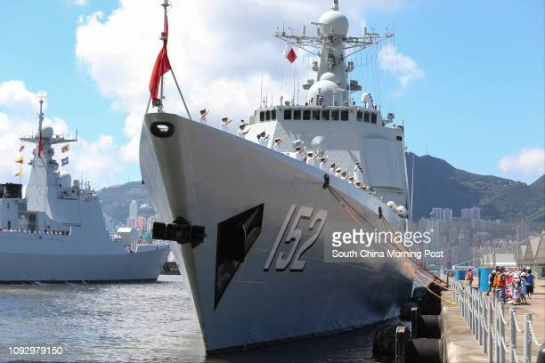 Chinese Navy Type 052C destroyer Jinan prepares for departure from Stonecutters Island on Tuesday morning July 11, 2017. 11JUL17 SCMP / Dickson Lee