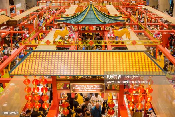 chinese new year 2017 in singapore - chinatown stock photos and pictures