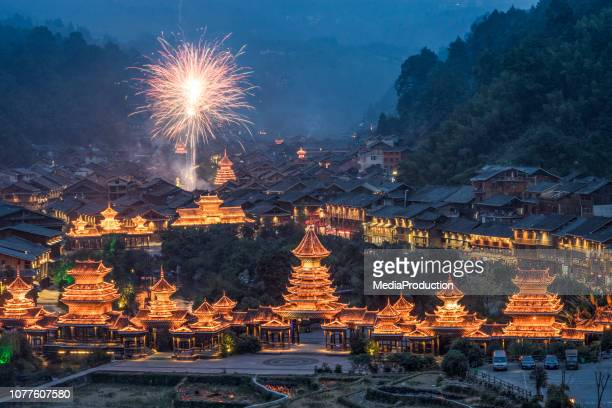 chinese new year celebrations in a rural village - chinese new year stock pictures, royalty-free photos & images