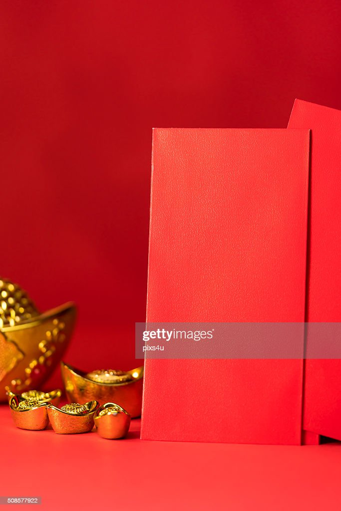 Chinese new year decorations, Auspicious ornaments on red backgr : Stock Photo