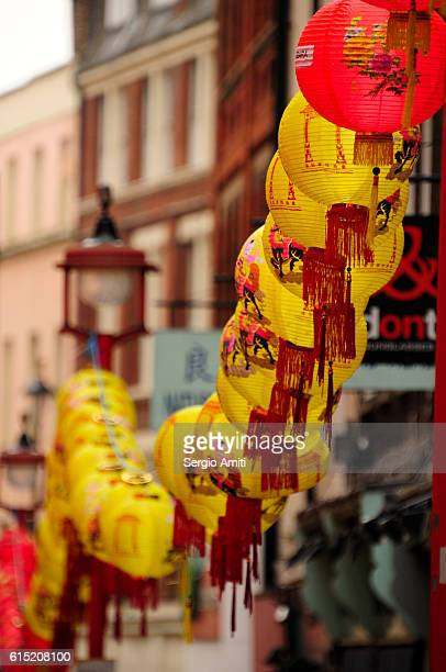 Chinese New Year decorations in London's Chinatown