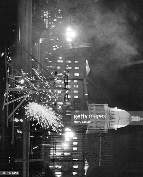 FEB 15 1972 FEB 16 1972 Chinese New Year Fireworks Display lights up sky at Civic Center During 20minute display Mayor Bill McNichols crowned Miss...