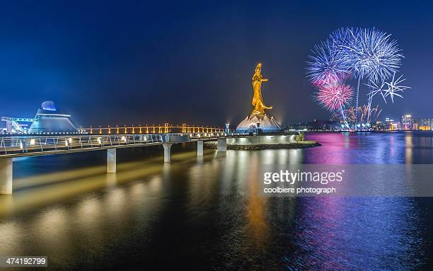chinese new year fireworks in macau - macao stock pictures, royalty-free photos & images