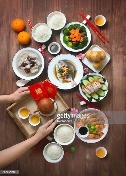 chinese new year food and drink, reunion dinner still life. - arranging stock pictures, royalty-free photos & images