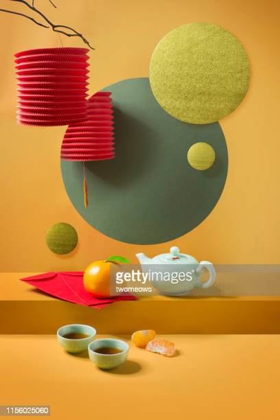 chinese new year food and drink still life. - chinese lantern festival stock pictures, royalty-free photos & images