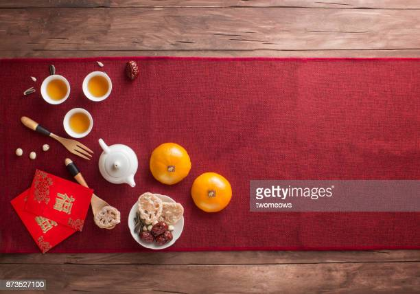chinese new year food and drink still life. - chinese new year stock pictures, royalty-free photos & images