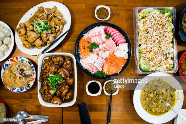 chinese new year food - banquet stock pictures, royalty-free photos & images
