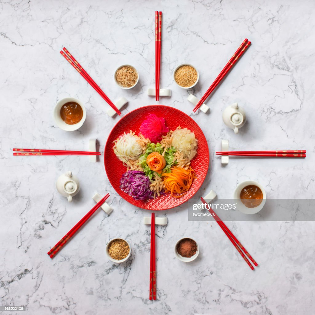 "Chinese new year food ""Yusheng"". : ストックフォト"