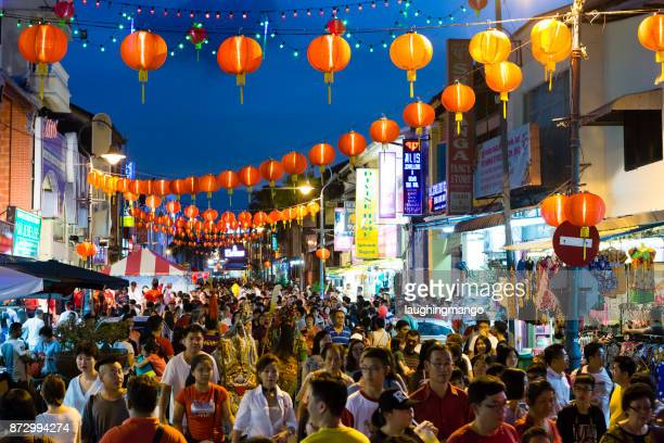 chinese new year georgetown penang malaysia - george town penang stock photos and pictures