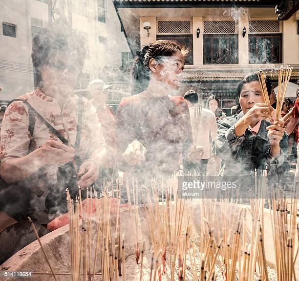 Año nuevo chino Chinatown Guan Yin santuario de Bangkok Tailandia