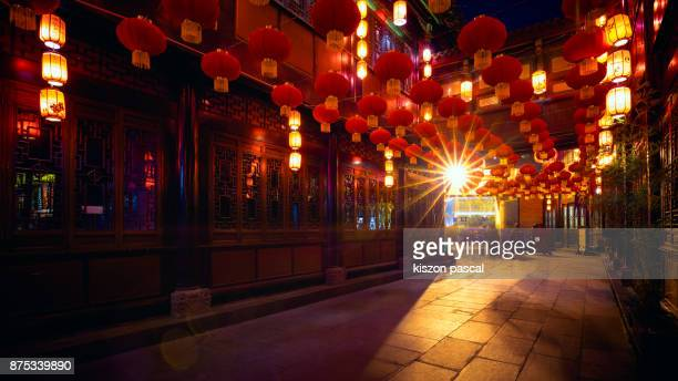 chinese new year lantern in a street of china . - chinese new year stock pictures, royalty-free photos & images
