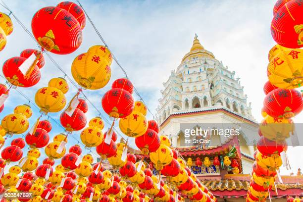 chinese new year lanterns at kek lok si temple, george town, penang, malaysia - george town penang stock photos and pictures