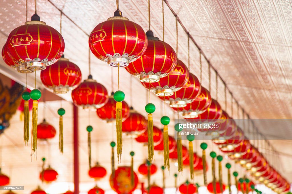 chinese new year lanterns hanging from ceiling george town penang malaysia stock - Chinese New Year Lanterns