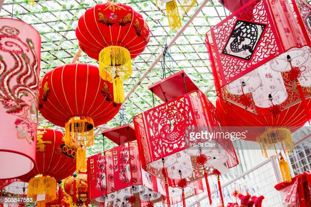 Chinese New Year lanterns hanging from ceiling