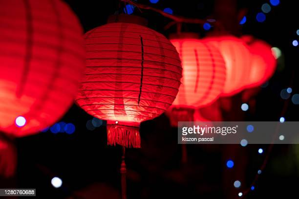 chinese new year lanterns illuminated at night . - chinese lantern lily stock pictures, royalty-free photos & images