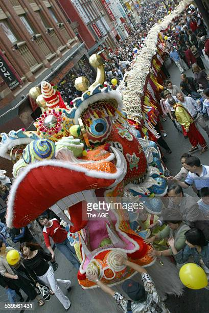 Chinese new year with the dragon in Little Bourke Street 25 January 2004 THE AGE Picture by ANDREW DE LA RUE