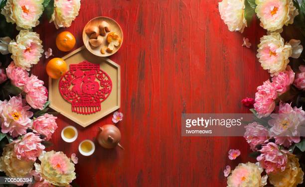 chinese new year's food and drink, decorative items text space image. - chinese new year stock pictures, royalty-free photos & images