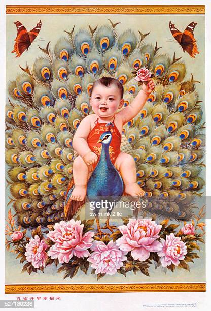 Chinese New Year's poster with baby boy riding peacock
