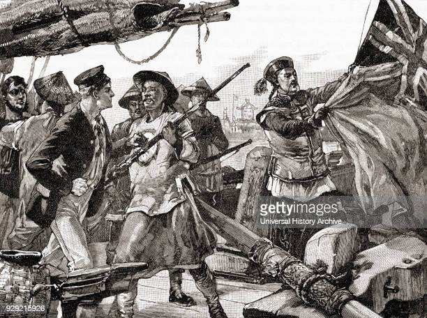 Chinese officers hauling down the British flag on board The Arrow at the outbreak of the Second Opium War, 1856. From The Century Edition of...