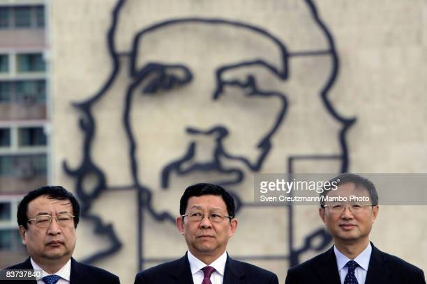 Chinese officials watch a wreath laying ceremony at the Jose Marti monument on the Plaza de la Revolucion November 18 2008 in Havana Cuba Chinese...