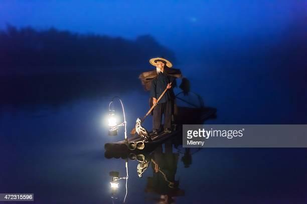 中国の旧上級の釣りはいかだジョンフィッシング漓江
