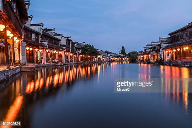 Chinese Old Water Town Nightfall with Lanterns