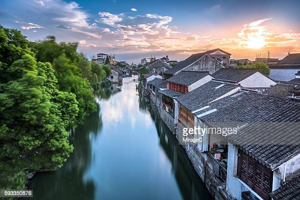 chinese old water town sunset scene, nanxun - miragec stock pictures, royalty-free photos & images