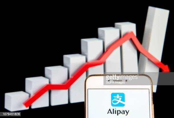 Chinese online payment platform owned by Alibaba Group Alipay logo is seen on an Android mobile device with a graph showing sharp losses in the...