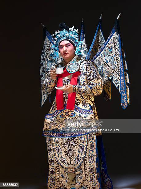 chinese opera action (zhao yun) - peking opera stock photos and pictures