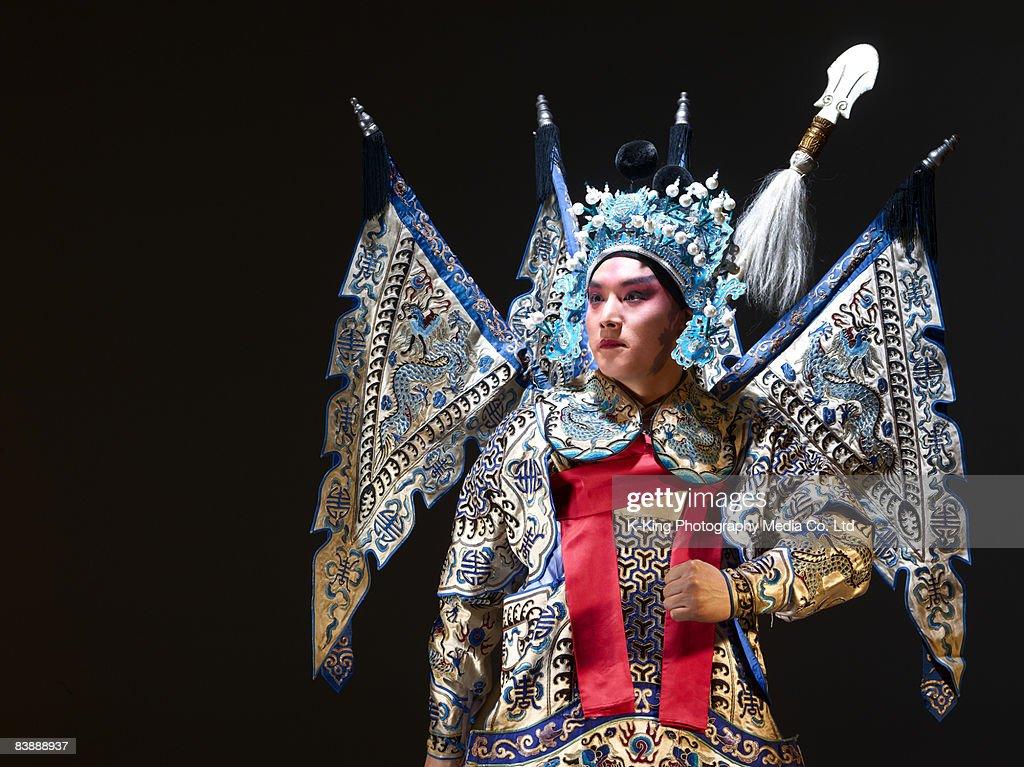 Chinese opera action (Zhao Yun) : Stock Photo