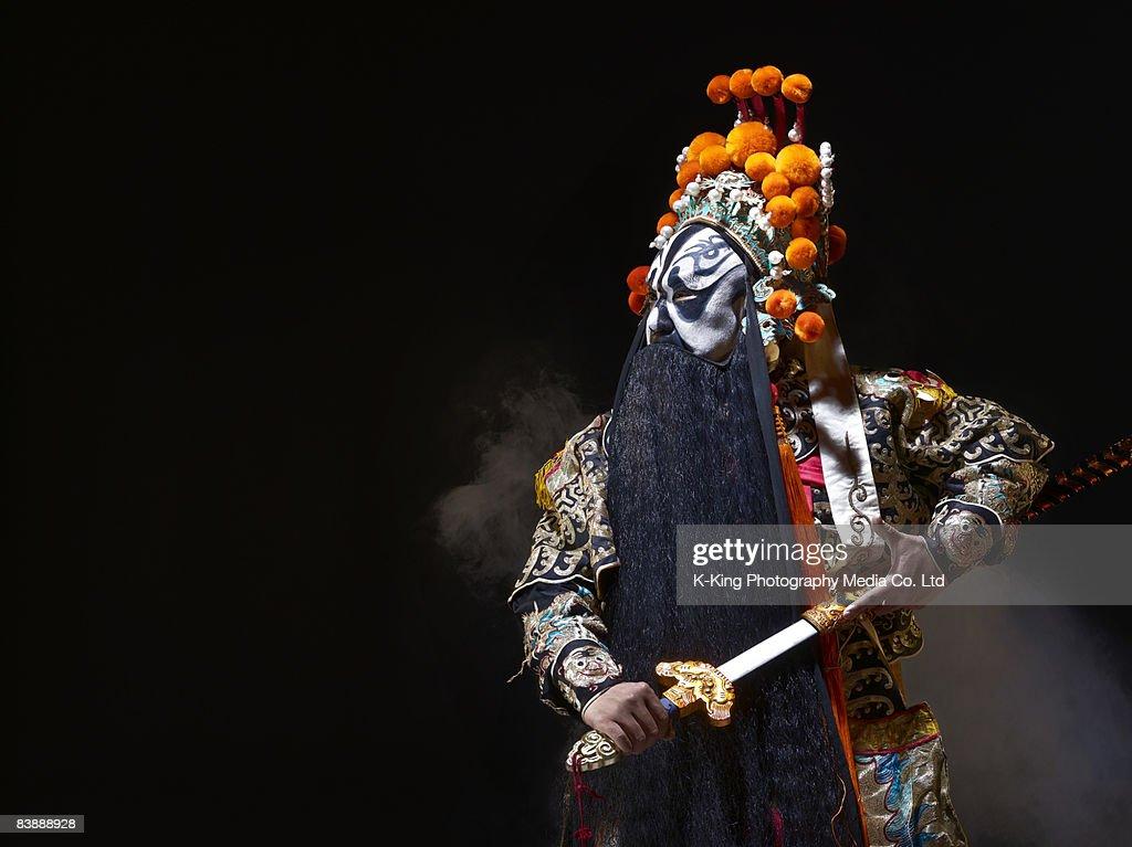Chinese opera character with sword (Ba Wang) : Stock Photo