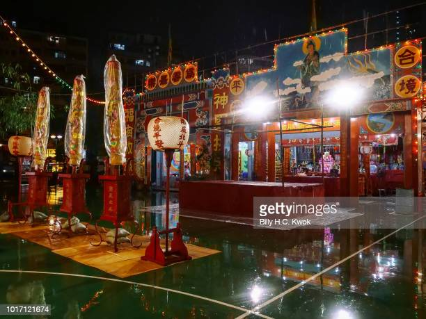 Chinese opera house is seen during the month of Hungry Ghost Festival on August 10 2018 in Hong Kong The Yu Lan Festival one of China's national...
