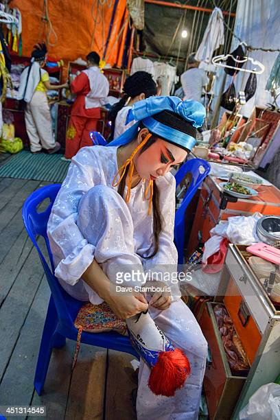 CONTENT] Chinese opera performer prepares for a performance at the Vegetarian Festival in Bangkok Thailand