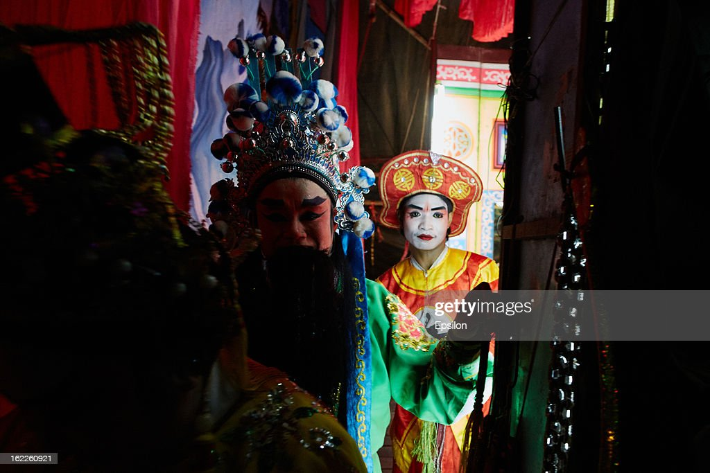AYUTTHAYA, THAILAND - FEBRUARY 11. Chinese Opera performers prepare backstage on February 11, 2013 in Ayutthaya, Thailand.