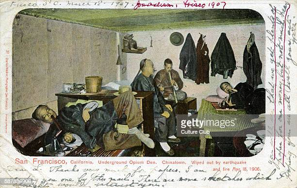 Chinese opium den San Francisco Captions reads San Francisco California Underground opium den ChinatownWiped out by earthquake and fire 18 April 1906...