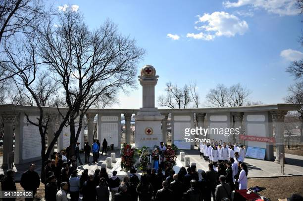 Chinese Organ Donors Relatives and college students pay tribute to organ Donors before the Qingming festival at Harbin Body Donor Recruitmen Monument...