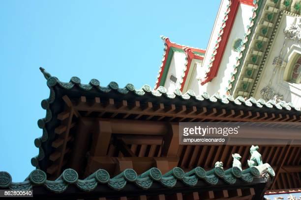 chinese pagoda close up in san francisco's chinatown - san francisco chinatown stock photos and pictures