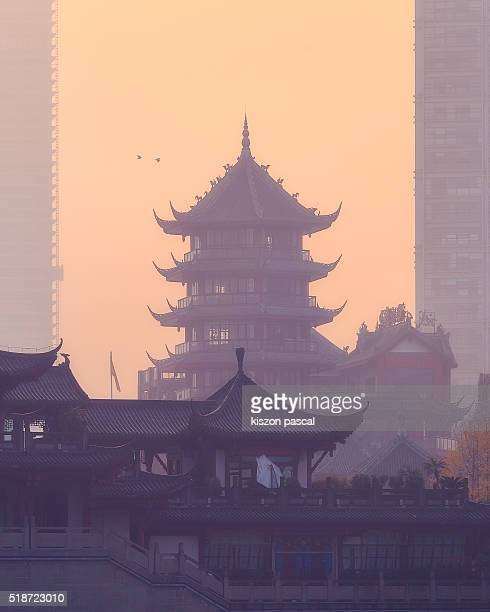 chinese pagoda in Chengdu ( Sichuan , China )
