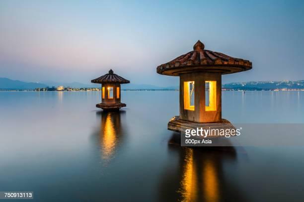 'Chinese pagodas on West Lake, Hangzhou, China'