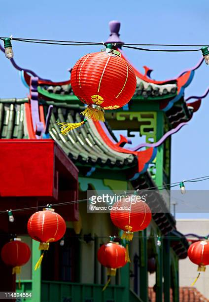 Chinese paper lanterns and building